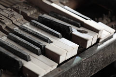 Broken piano keys Stock Photo