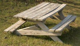 Broken Picnic table. Picnic table with broken leg Stock Photos