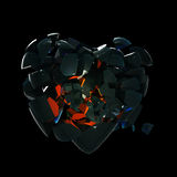 Broken into pieces black glass heart. Isolated on black vector illustration