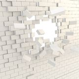 Broken into pieces brick wall with a copyspace hole Stock Photography