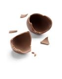 Broken into pieces chocolate egg Stock Photos