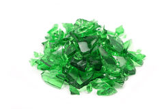 Broken pieces of green glass Royalty Free Stock Photo