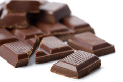 Broken Pieces Of Chocolate Isolated Royalty Free Stock Photography