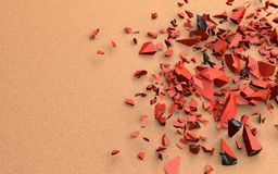The broken pieces of the red object in black, 3d illustration, on a continuous sandy background. Stock Photography