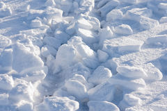 Broken pieces of snow close-up view Stock Images