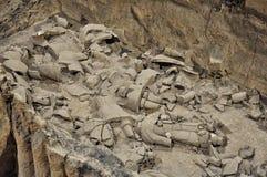 The broken pieces of Terracotta Army Stock Photos