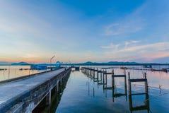 The broken pier at Bansamchong fishing village in Phang Nga province. Stock Photography