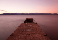 Broken pier in the lake Royalty Free Stock Photography