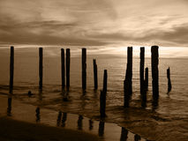 Broken Pier Sepia Stock Photography