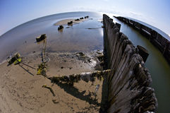 Broken Piers on Biloxi Beach Royalty Free Stock Image