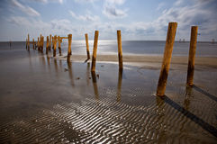 Broken Piers on Biloxi Beach. After Hurricane Katrina. Biloxi, Mississippi, United States stock photo
