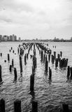 Broken Piers overlooking Jersey City from the Huds Stock Photo
