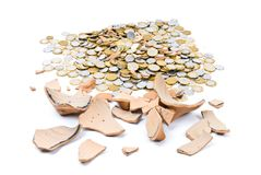 Broken Pig Coin Bank Stock Images