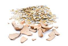 Broken Pig Coin Bank Stock Images