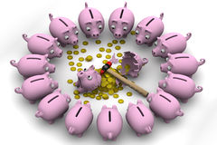 Broken Pig piggy bank with coins of the European currency is surrounded by many piggy banks Royalty Free Stock Photos