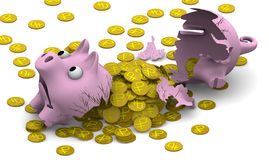 A broken pig piggy bank with coins Royalty Free Stock Photography