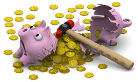 A broken pig piggy bank with coins. A broken pig piggy bank, coins with the symbols of the Russian currency and a hammer on a white surface. . 3D Illustration Stock Photo