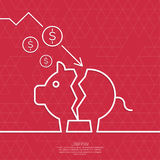 Broken pig piggy bank. Symbol of bankruptcy. Loss of points Currency. Falling through asset outflows. Red background. dollar symbol. minimal. Outline vector illustration