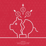Broken pig piggy bank. Symbol of bankruptcy. Loss of points Currency. Falling through asset outflows. Red background. dollar symbol. minimal. Outline royalty free illustration