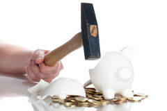 Broken piggy bank Royalty Free Stock Images