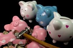 Broken Piggy Bank. Very sad piggy banks looking at broken friend Stock Image