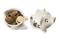 Broken Piggy Bank Royalty Free Stock Photography