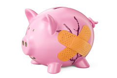 Broken piggy bank with adhesive plaster, 3D rendering Royalty Free Stock Photos