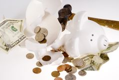 Broken Piggy Bank, American Currency Stock Photos
