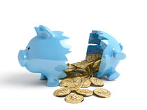 Broken piggy bank Royalty Free Stock Photos