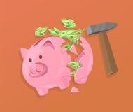 Broken Piggy Bank and Cash Royalty Free Stock Photos