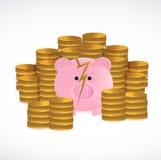 Broken piggy bank and coins illustration design Stock Photo