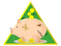 Broken piggy bank. With cracks and holes in the back Royalty Free Stock Image