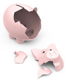 The broken piggy bank. 3d generated picture of a broken piggy bank Royalty Free Stock Images