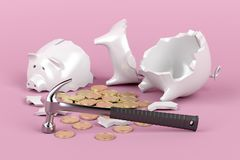 Broken piggy bank with hammer Royalty Free Stock Photos