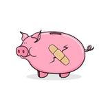 Broken piggy bank illustration. Cracked piggy bank illustration; Debt; Bankruptcy Stock Photo