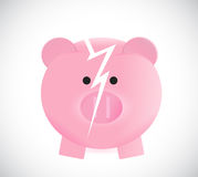 Broken piggy bank illustration design Royalty Free Stock Photos