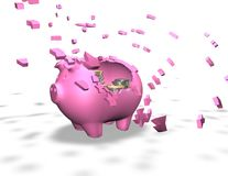 Broken piggy bank isolated illustration, spending money savings abstract concept Stock Photos
