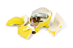 Broken piggy bank isolated on white Royalty Free Stock Image