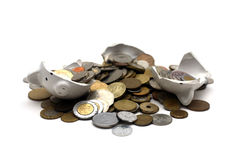 Broken Piggy Bank (on White) Stock Photo
