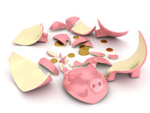 Broken piggy bank over white background Royalty Free Stock Images