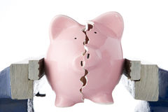 Broken piggy bank in vice Stock Photos