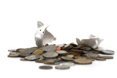 Broken Piggy Bank (on white) Royalty Free Stock Image