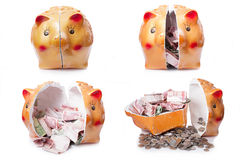 Broken piggy bank  on white background Royalty Free Stock Photos