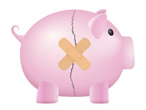 Broken piggy bank. On a white background Stock Photo