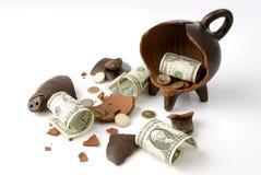 Broken piggy moneybox Royalty Free Stock Image