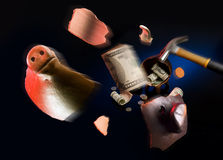Broken piggy moneybox Royalty Free Stock Photography