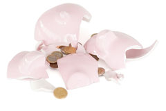 Broken piggy savings bank Stock Photography