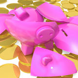 Broken Piggybank Showing Due Payments Stock Photography