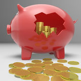 Broken Piggybank Showing Financial Savings Stock Images