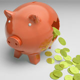 Broken Piggybank Showing Wealthy Profits Stock Photo